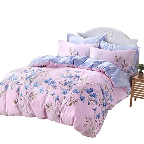 - FADFAY Fashionable Magnolia Floral Pink and Blue 100% Cotton Hypoallergenic Duvet Cover Set with 2 Pillowcases with Hidden Zipper Closure California King Size 3-Pieces, King King, Mangnolia