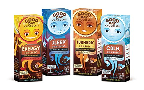 Good Day Chocolate Variety Pack - Milk and Dark Chocolate With Pharmaceutical Grade Nutraceuticals - Sleep, Calm, Energy, and Turmeric Dietary Supplements (4 Pack)