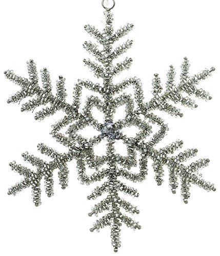 Set Of 3 Snowflake Christmas Ornaments Decorations Silver Iron and Glass Beaded Handmade Large Hanging Xmas Snowflakes Sets