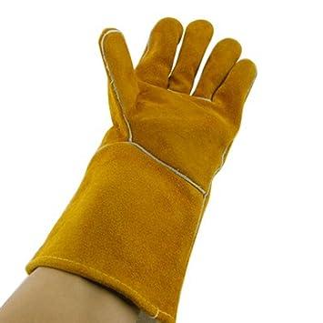 Suministros de soldadura extrema a prueba de calor y guantes resistentes al fuego cuero adecuado para