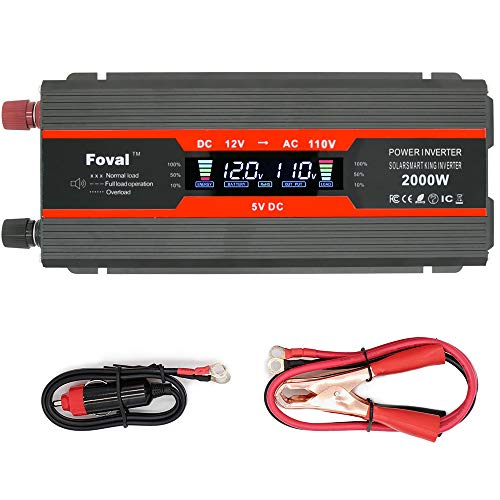 Cantonape 1000W/2000W(Peak) Car Power Inverter DC 12V to 110V AC Converter with LCD Display Dual AC Outlets and Dual USB Car Charger for Car Home Laptop Truck (Black) by Cantonape (Image #6)