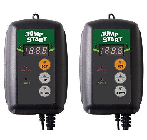 (2) HYDROFARM Hydroponic Seed Heat Mat Digital Temperature Controllers | MTPRTC by Hydrofarm