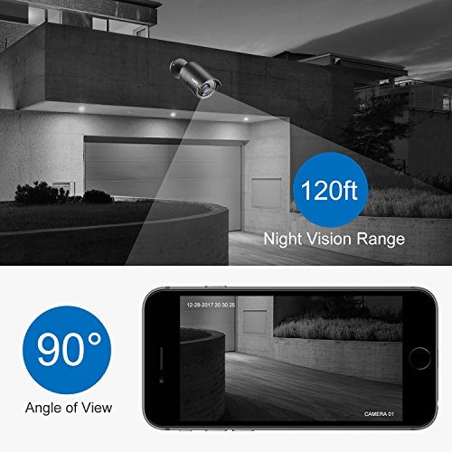 SANNCE 4 Metal Security Camera Kits 1/2.7'' 1080P(2MP) AHD Video Security Surveillance CCTV Camera with 100ft Night Vision, 3.6mm Lens Outdoor/Indoor IP66 Weatherproof(Pack of 4) by SANNCE (Image #3)