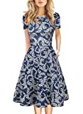 Modest Fit and Flare Dress for Women Cotton Short Sleeve Casual Work Church Midi Dress 50s Vintage Stretchy Clothing 162 (Blue-White, S)