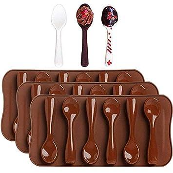 3 unidades moldes para Chocolate, diseño de cucharas – moldfun pequeño horno seguro cuchara molde