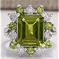 Fashion Women 925 Silver Natural Green Peridot Gemstone Wedding Engagement Ring#by pimchanok shop (6, Green Peridot)