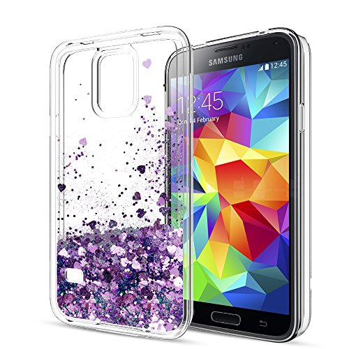 S5 Case,Galaxy S5 Case with HD Screen Protector for Girls Women,LeYi Cute Bling Shiny Glitter Moving Quicksand Liquid Clear TPU Protective Phone Cover Case for Samsung Galaxy S5 ZX Purple