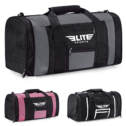 Boxing gym duffle Bag For MMA, BJJ, Jiu Jitsu gear, Elite Sports duffel athletic gym boxing bag (Gray, Small)