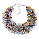 KAYMEN FASHION JEWELLERY Women's Chunky Statement Crystals Bib Necklace Multicolor by Handmade for Wedding
