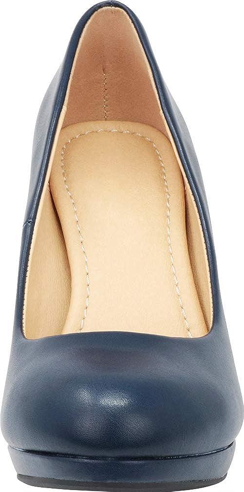 Cambridge Select Womens Round Toe Padded Comfort Platform Stiletto High Heel Pump
