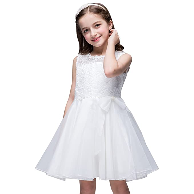 WanYang Verano Vestido De Novia Princesa Vestido De Encaje Sin Mangas De Cuello Redondo De Vestuario