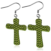 Stainless Steel Shamballa Cross Long Drop Hook Earrings w/ Light Olivine CZ (pair) - EEZ079