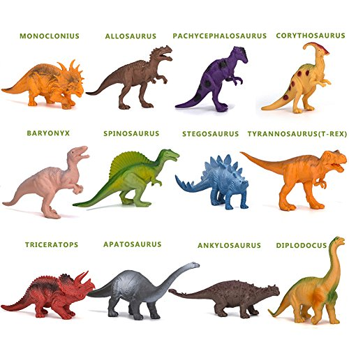 Kimicare Dinosaur Figure Toys, 7 Inch Jumbo Plastic Dinosaur Playset, STEM Educational Realistic Dinosaur Figures for Boys Toddlers Including T-Rex, Stegosaurus, Triceratops, Monoclonius, 12 Pack