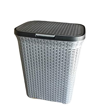 Grey Fabric Laundry Basket Hamper Lid /& Handle Ideal for Clothes Storage UK