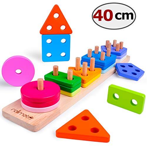 Rolimate Steckplatte Holz Holzpuzzles Sortierspiel Holzsteckspiel für Kinder 2 3 4 Jahre 16-teilig Farben-und…