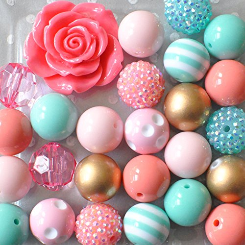 Coral and Aqua Flower Chunky Bead Necklace DIY Kit from Boutique Craft Supplies
