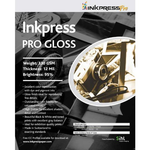 Inkpress Pro P3 Professional Pro Gloss, Bright White Single Sided Inkjet Paper, 330gsm, 12mil, 11x17