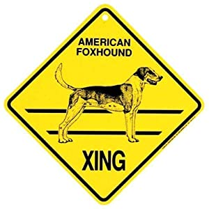 SteelLtd American Foxhound Xing Caution Crossing Sign Dog Gift 1