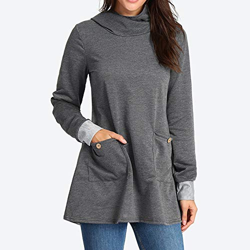 Longues Femme Chic Tops Sweat Pull Shirt Chemise Pull Manches pour Femmes Manches Longues Longues Sweat Manches Capuche Gris gqBfA