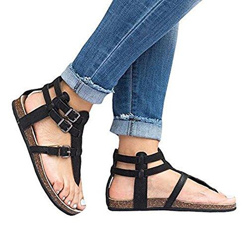 Out Buckle Peep Women Flat Ladies Shoes Hollow Ankle Heels T Juleya Toe Sandals Bar Heel Black Sandals Summer W0qPg1A