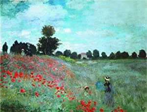 'The Poppy Field, 1873 By Claude Monet' oil painting, 16x21 inch / 41x53 cm ,printed on Cotton Canvas ,this Reproductions Art Decorative Canvas Prints is perfectly suitalbe for Bathroom decoration and Home decoration and Gifts