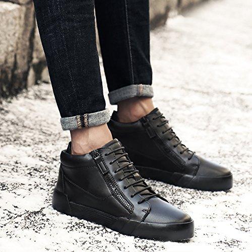 Insun Mens Snöra På Chukka Boots Läder Sneakers Svart (blixtlås)