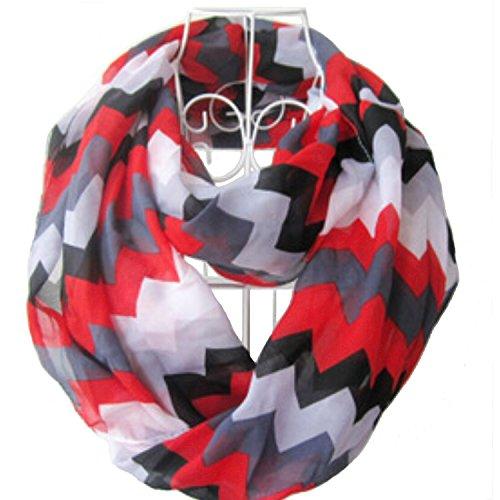 Tapp C. Multicolor Fashion Chevron Infinity Scarf - Red