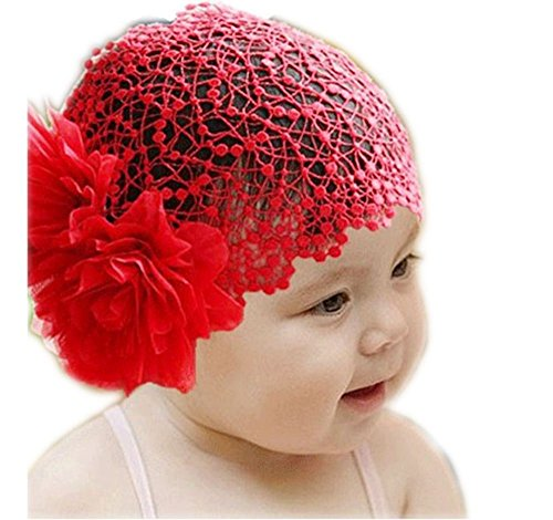 SAMGU Baby Girl Toddler Cute Lace Wide Headband with Big Flower Stretch Headwear Headdress Head wrap color (Lace Headdress)