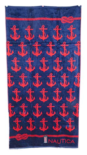Border Background Red - Nautica 36 x 68 Reversible Red Anchors on Navy Blue Background with Nautical Rope Border Edges Beach Towel