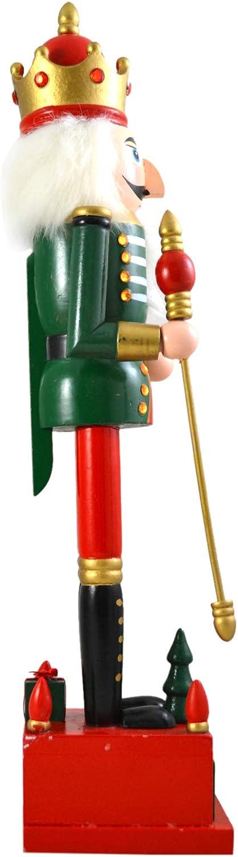 Needzo Premium Wooden Classic Green Christmas Nutcracker Countdown Block Calendar 16 1//2 Inch