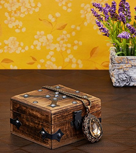 Valentine's Day Gift Decorative Wooden Jewelry Box Trinket Organizer Keepsake Box Multipurpose Accessories 4 x 4 Inches - Mango Wood Beautiful Gift on all Occasions. (4)