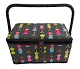 Medium Rectangle Sewing Basket Box with Tray Pincushion 11x7x6.5 (Medium 11x7x6.5, Black Multi Color Dress Forms)