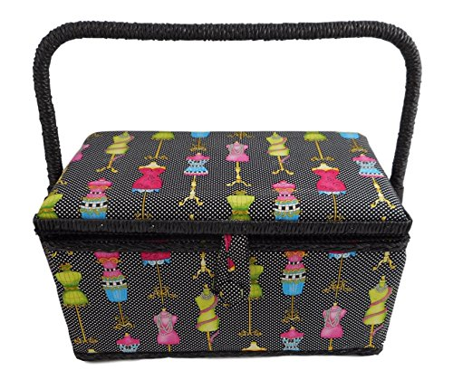 Medium Rectangle Sewing Basket Box with Tray Pincushion 11x7x6.5 (Medium 11x7x6.5, Black Multi Color Dress Forms) by Allary