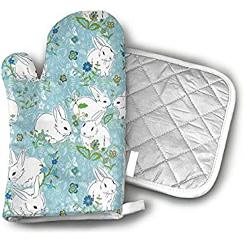 CHWEYAQ Love Bunny Rabbit Oven Mitts and Potholders Sets for Kitchen Counter Safe Mats and Advanced Heat Resistant Oven Mitt,