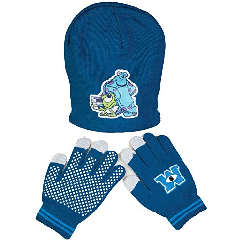 Jersey Print Gloves - Disney Little Boys' Monsters University Reversible Beanie And Glove Set, Blue, One Size