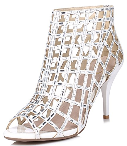 LizForm Women Cutout Sandal Boots Open Toe Stiletto Sandals Back Zipper Dress Shoes High Heels Boots White3 9.5