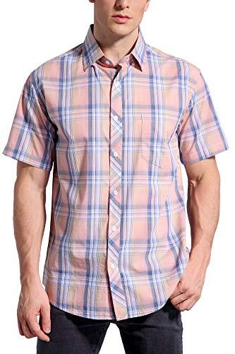 Coevals Club Men's 100% Cotton Plaid Short Sleeve Casual Button Down Shirt (#6 Pink Plaid, 3XL) (Pink Plaid Button)