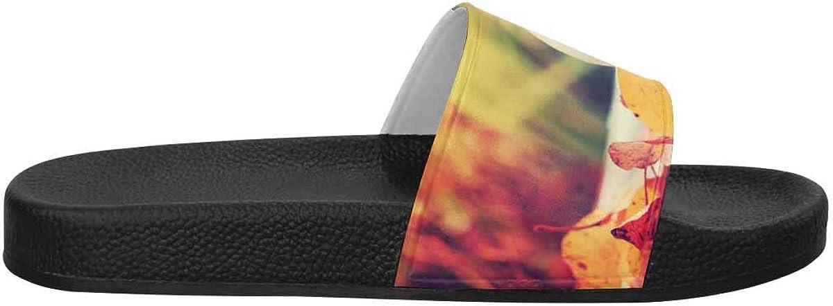 US6-US12 INTERESTPRINT Womens Comfortable Open Toe Slide Sandals Autumn Fall Pumpkins