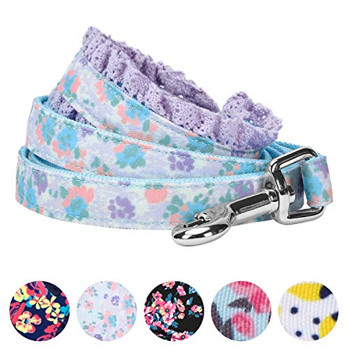 Blueberry Pet 5 Patterns Durable Spring Made Well Lovely Floral Print Dog Leash with Lace in Lavender, 5 ft x 5/8'', Small, Leashes for Dogs by Blueberry Pet