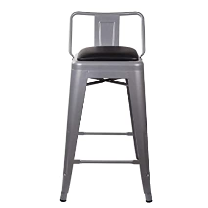 Stupendous Gia 24 Inch Low Back Stool With Faux Leather Seat Gray Black 4 Pack Forskolin Free Trial Chair Design Images Forskolin Free Trialorg