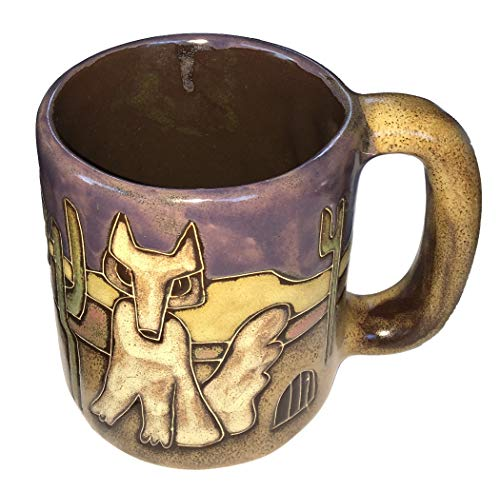 One (1) MARA STONEWARE COLLECTION - 16 Ounce Coffee Cup Collectible Mug - Desert, Cactus, Coyote Design