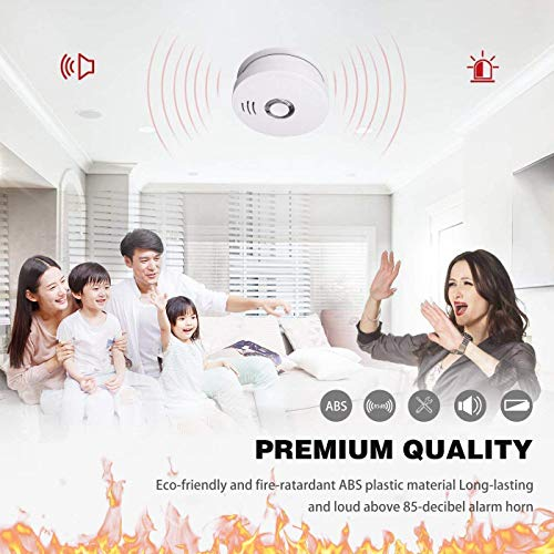 Smoke Detector and Fire Alarm 4 Pack Photoelectric Sensor Smoke Alarms Easy to Install Fire Alarm With UL Listed, Light Sound Warning, Test Button,9V Battery Included Fire Safety for Home Hotel School by SITERWELL (Image #4)