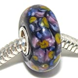 "Solid 925 Sterling Silver ""Black Background with Multi-colored Flower Petals"" Glass Charm Bead for European Snake Chain Bracelets"