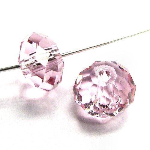 6 pcs Swarovski Crystal 5040 Briolette Rondelle Bead Spacer Light Rose Pink 6mm / Findings / Crystallized Element (Crystal Briolette Pink)