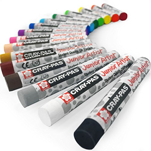 - Sakura Cray-Pas Junior Artist Oil Pastels - Pack of 16 - 8mm x 60.8mm - XEP16