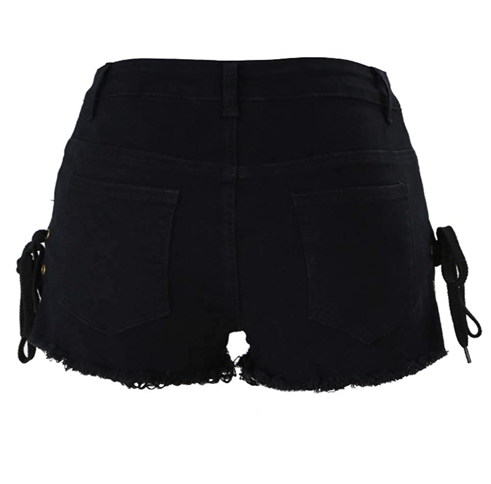 Angcoco Womens High Waisted Hot Bandage Tassel Trimmed Jeans Shorts