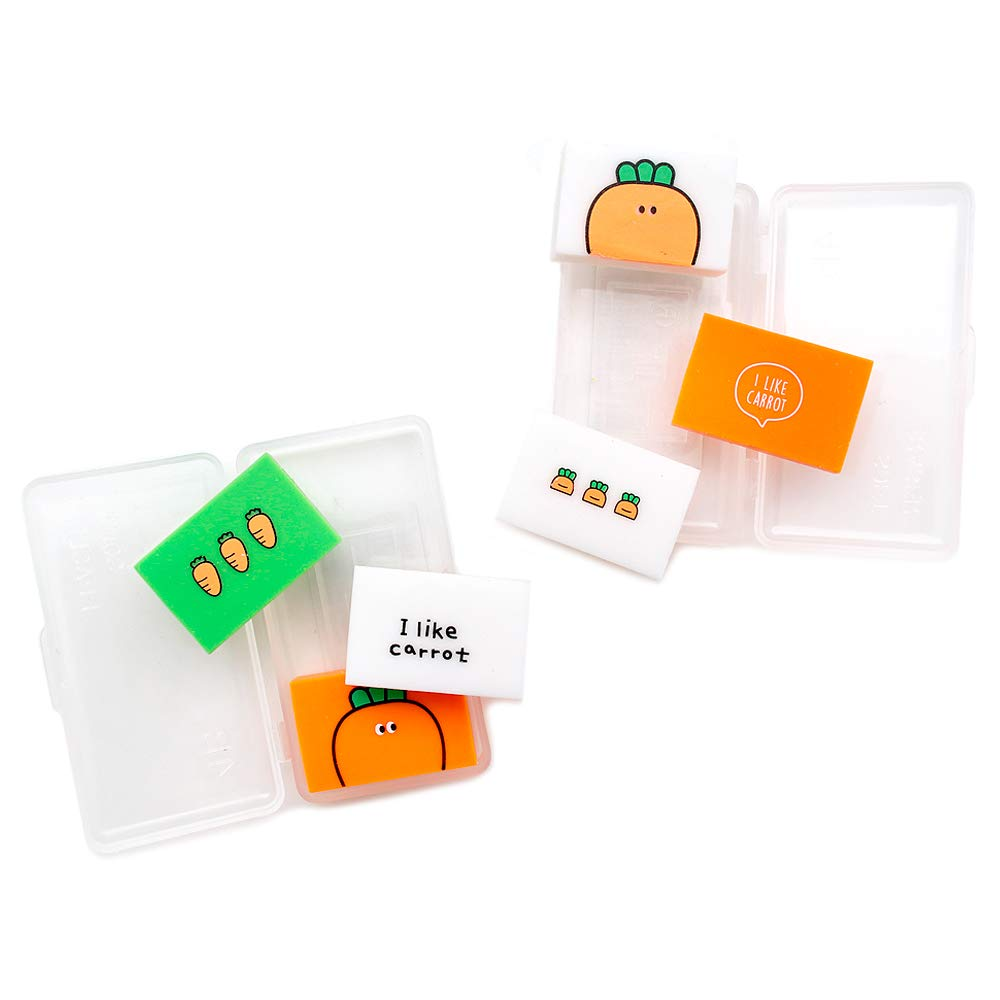 Pinkfoot Cute Mini Portable Various Carrot Eraser Set w//Eraser Case Set of 2 6pcs