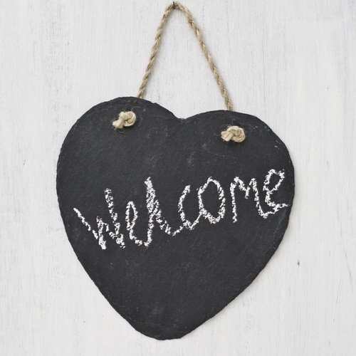 Artestia Natural Slate Heart Shaped Chalkboards with Jute Hanger for Garden, Weddings, Parties, and Creating, Large, 8