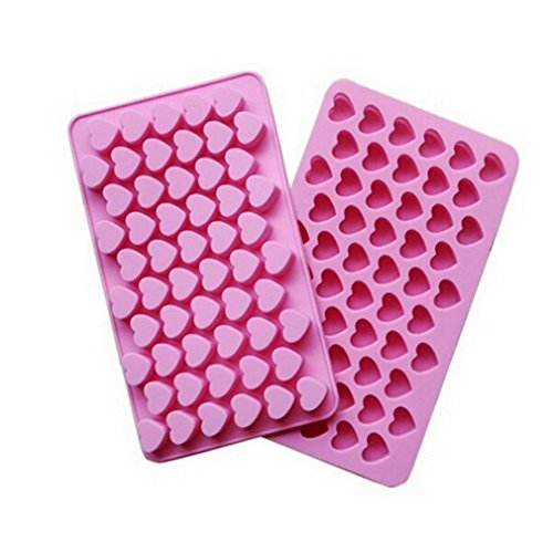 Price comparison product image VWH 55 Mini Heart Shapes Silicone Soap Crayon Ice Cube Candy Decoration Chocolate Mold,  Reusable Cake Mold
