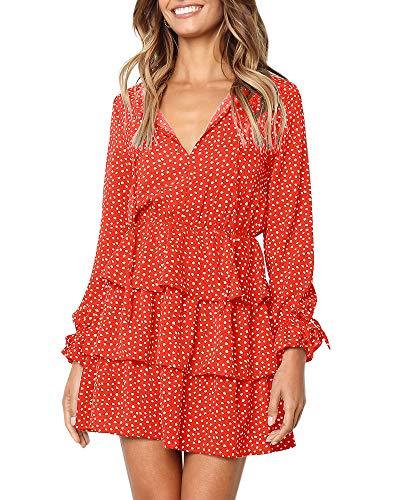 Ofenbuy Womens Polka Dot V Neck Dresses Ruffle Long Sleeve Loose Mini Short Dress Orange ()
